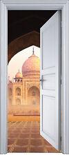 Sticker porte trompe l'oeil déco Temple Taj Mahal 90x200 cm réf 2140