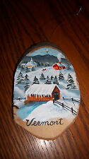 VERMONT WOOD PAINTING COVERED BRIDGE STREAM BARN SLEDDERS STEEPLE SNOW MOUNTAIN