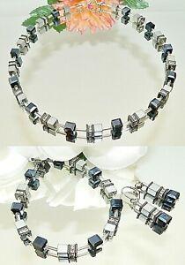 3er Schmuckset Würfelkette Armband Ohrringe Cube silber schwarz Strass 064j