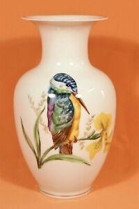 Meissner Porzellan-malerei - Vase Eisvogel Insekt - PGH handgemalt Meissen /V
