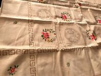 Vintage Unused Hand Embroidered Drawn THREADWORK Cream Linen Tablecloth 49x49