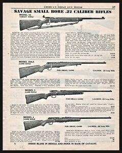 1942 SAVAGE Model 19, 23AA, 3, 4 .22 Rifle AD shown w/ original prices