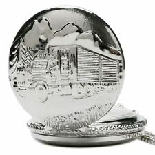 Silver Retro Car Truck Pattern Pendant Necklace Men Women Pocket Watch Gifts