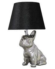 Impresionante Plata Bulldog Extravagantes Lámpara De Mesa Con Pantalla De 8 pulgadas negro piel de serpiente