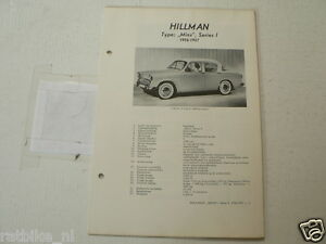 HILL3--HILLMAN MINX SERIES 1 1956-19567 ,TECHNICAL INFO CAR OLDTIMER