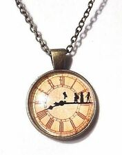 OFF TO NEVERLAND Peter Pan Wendy clock face glass pendant fairytale necklace A6