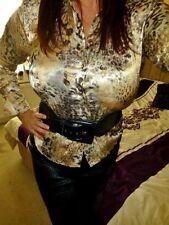 "Gold Satin blouse glossy shiny print TOP mistress  size 14 chest 42""  femme"