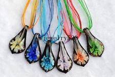 Wholesale Lot 6Pcs Leaf Flower Murano Glass Pendant Silver P Necklace FREE