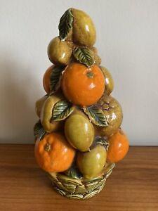 Vintage Majolica Style China Orange & Lemons Fruit Stack On China Basket