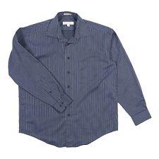 Pronto Uomo No Iron Dress Shirt L/S Blue Stripe Men's Large NWOT