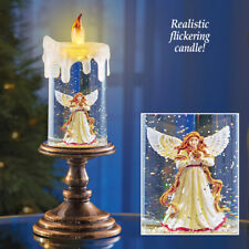Holiday Lighted Heavenly Angel Christmas Snow Globe Candle Figurine