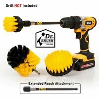 Drill Scrub Brushes Cleaning Extended Long Attachment Power Scrubber Set 4 Pack