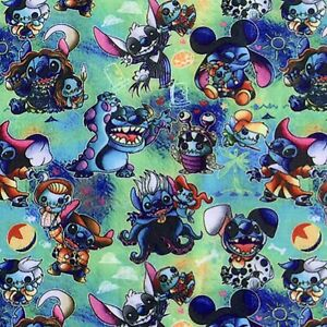 FQ DISNEY LILO AND STITCH ALIEN ELVIS HAWAII  POLYCOTTON FABRIC CHARACTER
