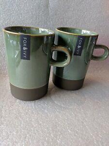Fox & Ivy Tall Mug Pair Arno-Paio Stoneware Green/Brown 13cm Tall New