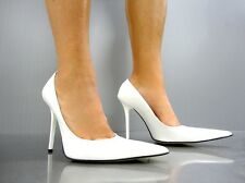 MADE IN ITALY LUXUS HIGH HEELS POINTY PUMPS SCHUHE DECOLTE LEDER WHITE BIANCO 43