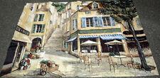 Cafe De La Place Grande Tapestry Wall Hanging ~ Artist, Fabrice de Villeneuve