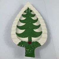 """Vintage Large Ceramic Christmas Tree Holly Berry Serving Platter Tray 15 3/4"""""""
