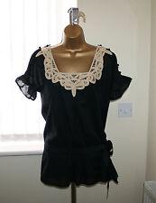 Juicy Couture Ladies Unusual Black Summer Top Sz US 6 UK 10