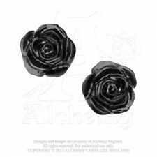 ALCHEMY ENGLAND Gothic Surgical Steel STUD EARRINGS Romance of Black Rose