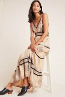 NWT Robin Embroidered Maxi Dress by Anthropologie $180 NEUTRAL Sz 4