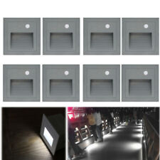 8 X 3W LED Wandeinbauleuchte Treppenlicht Außen Lampe mit Bewegungsmelder 230V