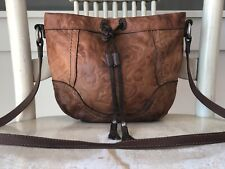 """FOSSIL """"Winslet"""" British Tan Leather Embossed Tooled Crossbody Drawstring Bag"""
