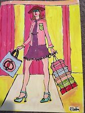 Fashion Chanel  ORIGINAL PAINTING Canvas paper SIGNED  Listed Artist Andee Dubin
