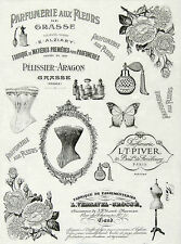 Rice Paper for Decoupage, Scrapbook Sheet, Craft Paper Vintage Parfumerie