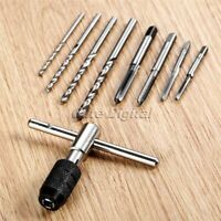 Threading Screw Tap & Tapping Tap Wrench & Twist Drill Bit Woodworking Tool 1Set