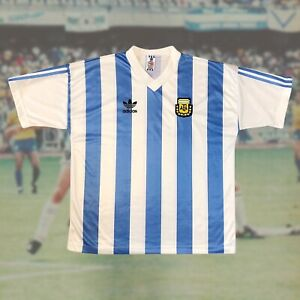 Argentina 1990 International Home Soccer Jersey XL Adidas Camiseta Maradona VTG