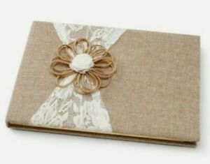 David Tutera Burlap and Lace Wedding Guest Book Special Event Occasions 60 Pages