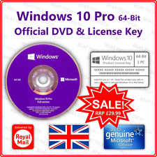 Microsoft Windows 10 Pro 64-Bit Official Install Disc 📀+🔑 DVD & License Key