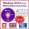 Microsoft Windows 10 Pro 64Bit Installer Disc 📀+🔑 CD/DVD & Genuine License Key