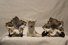 Vintage Porcelain Elfinware Boot and 2 Floral Leaf Shaped Dishes Made in Germany