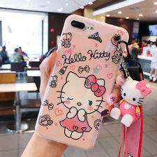 Cute cartoon Bow Hello kitty Doll strap soft case Cover for iPhone X 8 7 6S Plus