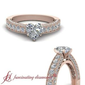 1.50 Ct Heart Shaped Diamond Cathedral Pave Set Engagement Ring With Milgrain