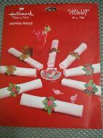 """Vintage Hallmark """"Holly"""" Christmas 8 napkin rings cardboard - unused"""