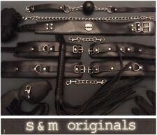 Leather bondage kit collar mouth ball gag restraints rope whip hand cuff gloves