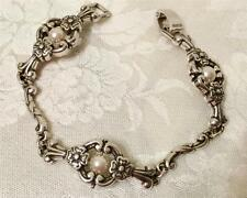 Brighton Bracelet silver plated etching, flowers & pearls