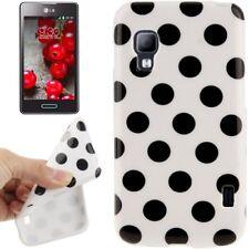 TPU Case für LG E455 Optimus L5 II Dual in weiß mit schwarzen Punkten Etui Hülle