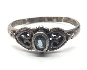 Vintage Sterling Silver Ring 925 Size 8 Blue Stone Heart Filigree