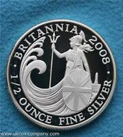 2008 Uk Royal Mint Britannia £1 One Pound Fine Silver Proof Coin In Capsule