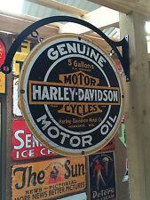 HARLEY DAVIDSON TIN METAL SIGN WITH HANGER DBL SIDED  BAR MAN CAVE HOT ROD
