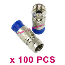 100x RG6 Coax Coaxial Compression Fitting F Connector Antenna Cable TV Satellite