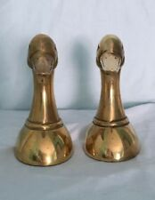 Gold Plated Duck Heads 5 Inches books ends Home Decor