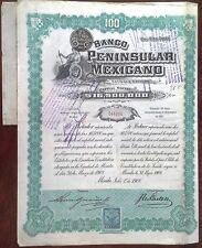 "Mexico 1908 Banco Peninsular Mexicano ""Twin Ladies"" 100 Bond Loan Share"