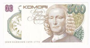 Test Note KOMORI - SECURITY PRINTING MACHINERY JOHN HARRISON 1693-1776 AUNC
