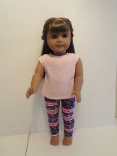 "Flowered Leggings/Pink Knit Top for 18"" Doll Clothes American Girl"