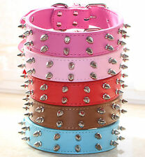 "1.2"" Wide Colorful Spiked Studded Leather Pet Dog Collars For Large Dog Pitbull"