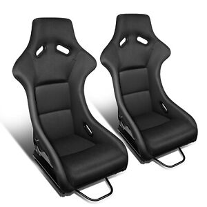 2pcs Reinforced Fiberglass Black Fabric Cover Racing Bucket Seats Universal Fit